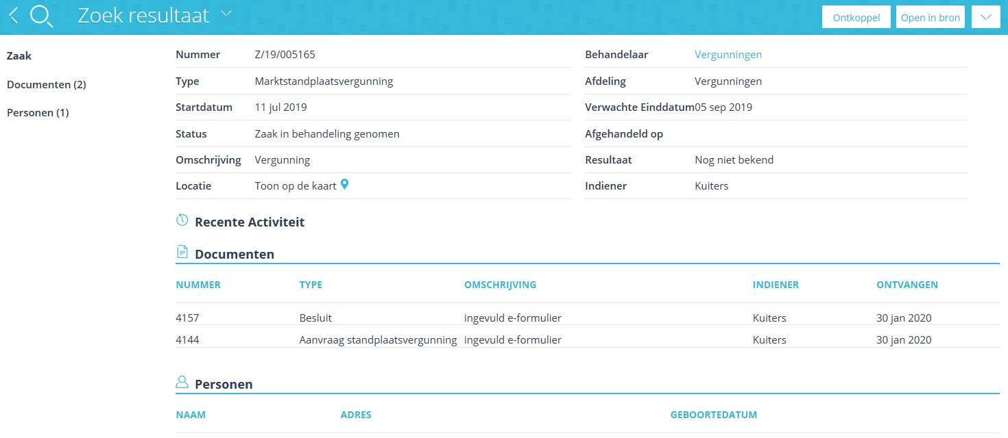 Screen koppeling zaaksysteem